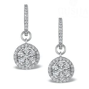 14K Gold 1.75 Ct. Genuine Diamond Halo Drop Huggie Earrings Bridal Jewelry