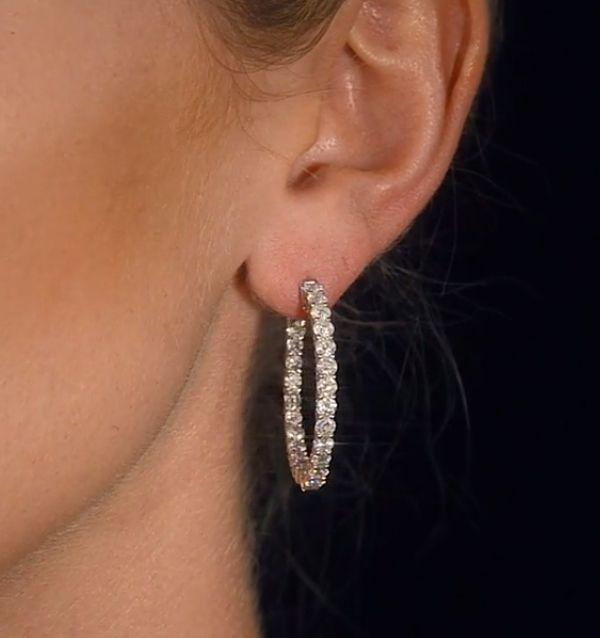 14K White Gold 4.00 Ct. Genuine VS Clarity Diamond Bridal Wedding Hoop Earrings