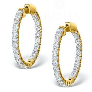 14K Yellow Gold 4.00 Ct. Genuine VS Clarity Diamond Bridal Wedding Hoop Earring