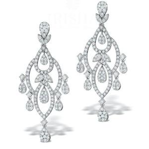 14K Gold 5.00 Ct. Genuine Diamond Drop Chandelier Earrings Bridal Jewelry