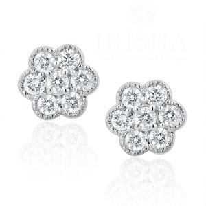 14K White Gold 0.50 Ct. Genuine Diamond Cluster Flower Earrings Bridal Jewelry