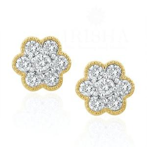 14K Yellow Gold 0.50 Ct. Genuine Diamond Cluster Flower Earrings Bridal Jewelry