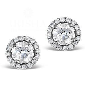 14K Gold Genuine Diamond (center-0.50 Ct.) Diamond Halo Studs Bridal Earrings