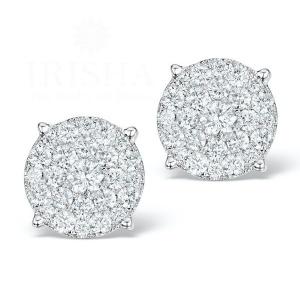 14K White Gold 1.00 Ct. Genuine Diamond Cluster Studs Earrings Bridal Jewelry
