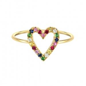 14K Yellow Gold Genuine Diamond-Multi Sapphire Gemstone Heart Design Ring-8 US