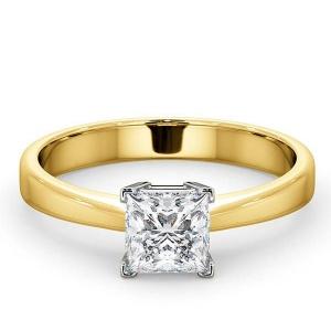 14K Yellow Gold 0.75 Ct. Genuine Princess Cut Diamond Wedding Bridal Ring