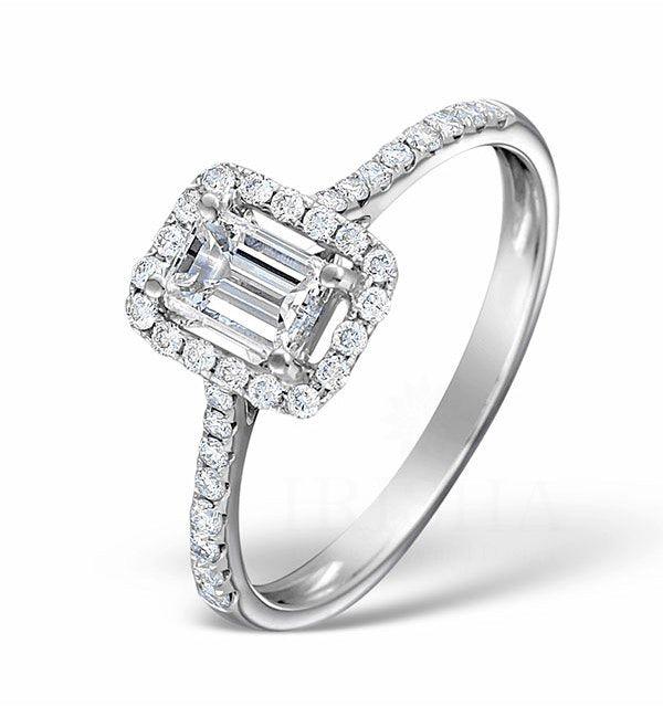 14K Gold Genuine Round-Emerald Cut(0.50 Ct.) Diamond Halo Engagement Ring