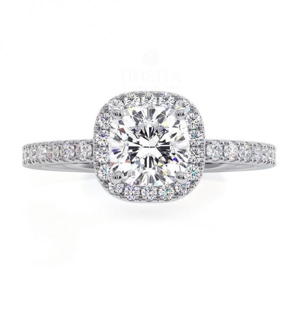 14K Yellow Gold 1.50 Ct. Genuine VS Clarity Diamond Halo Engagement Wedding Ring