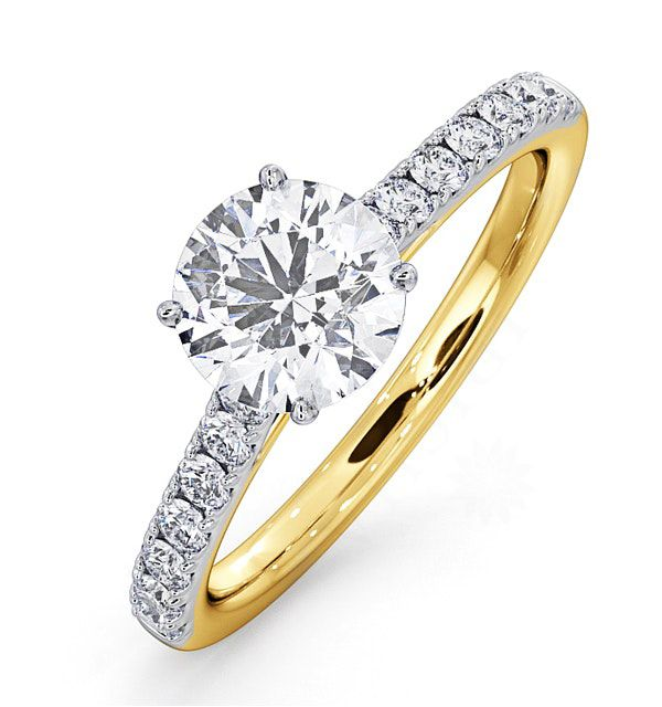 14K Yellow Gold 1.30 Ct. Genuine Diamond Solitaire with Accents Wedding Ring