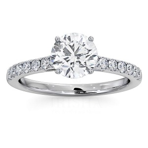 14K White Gold 1.30 Ct. Genuine Diamond Solitaire with Accents Wedding Ring