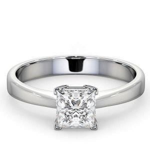 14K White Gold 0.75 Ct. Genuine Princess Cut Diamond Wedding Bridal Ring
