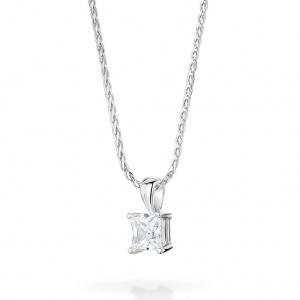Princess Cut Diamond Pendant 0.15ct In 18K White Gold