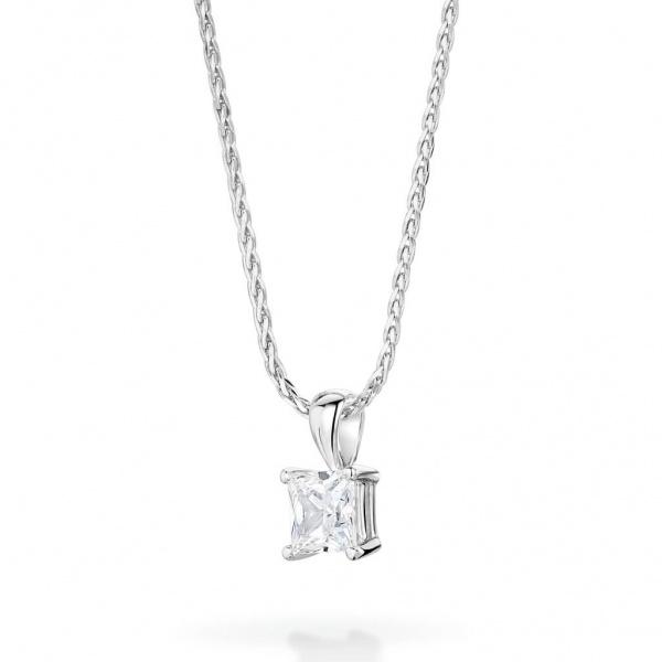 Princess Cut Diamond Pendant 0.25ct In 18K White Gold