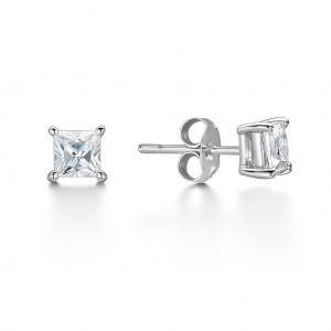 Princess Cut Diamond Stud Earrings 0.30ct In 18K White Gold