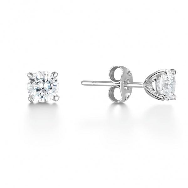 Brilliant Cut Diamond Stud Earrings 0.66ct In 18K White Gold