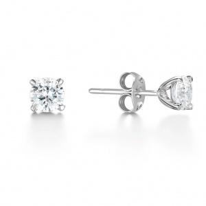 Brilliant Cut Diamond Stud Earrings 1 ct In 18K White Gold