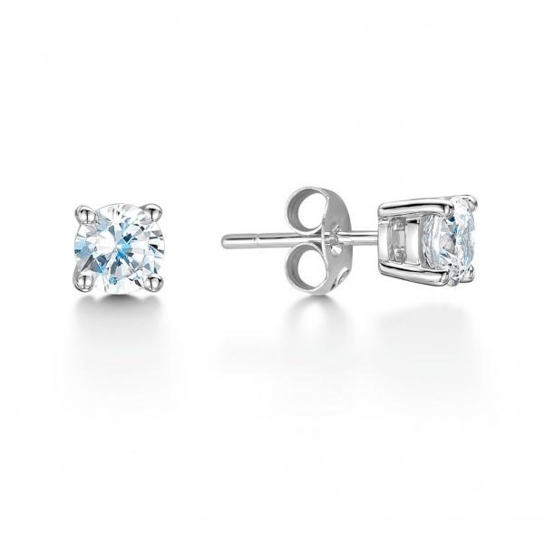 Brilliant Cut Diamond Stud Earrings 0.20ct In 18K White Gold