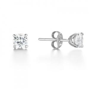 Brilliant Cut Diamond Stud Earrings 0.60 ct In 18K White Gold