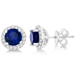 Blue Sapphire & Diamond Halo Stud Earrings in Sterling Silver 2.27ct