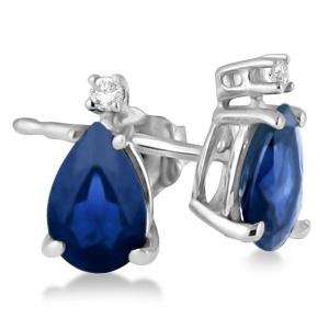 Diamond and Pear Sapphire Teardrop Earrings Studs 14K White Gold (0.72tcw)