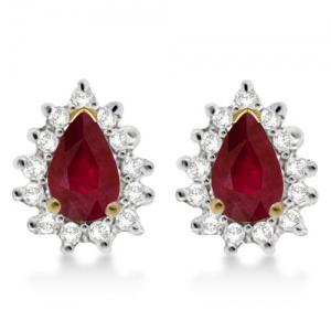 Ruby & Diamond Teardrop Earrings 14k Yellow Gold (1.10ctw)