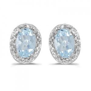Diamond and Aquamarine Earrings 14k White Gold (0.80ct)