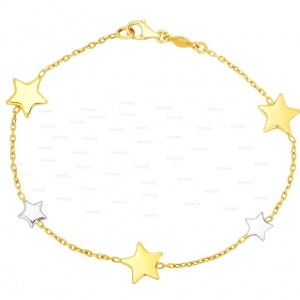14K Gold Two Tone (Yellow & White) Shiny Star Chain Bracelet Christmas Jewelry