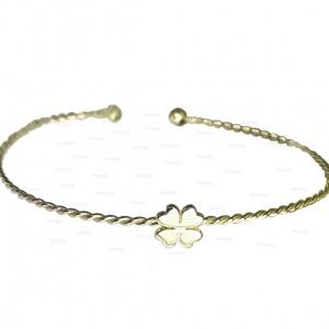 14K Gold Flower Charm Twisted Wire Handmade Cuff Bangle Bracelet Fine Jewelry