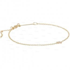 14K Gold 0.09 Ct. Genuine Diamond Star Charm Celestial Bracelet Fine Jewelry