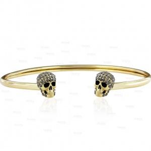 14K Gold 1.00 Ct. Black Diamond Handmade Halloween Skull Cuff Bangle Bracelet