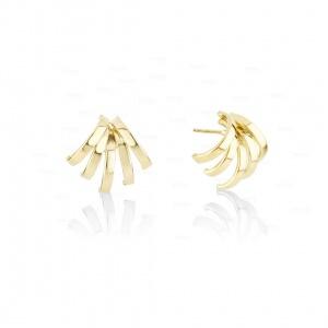 14k Solid Plain Gold Five Claw Huggies Earrings Fine Jewelry-New Arrival