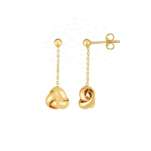 14K Yellow Gold 9x26 mm Drop Love knot Mother's Day Earring with Push Back Clasp