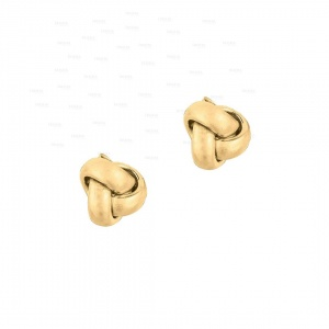 14K Yellow/White/Rose Gold One Row Love knot Post Mother's Day Studs Earrings
