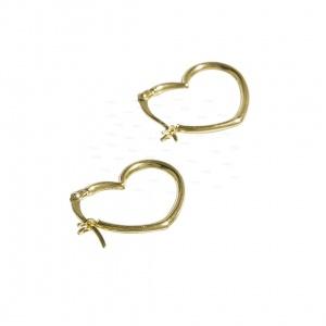 14K Solid Gold Love Heart Design Hoop Earrings Anniversary Gift Fine Jewelry