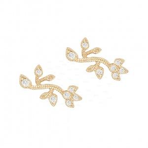 14K Gold 0.20 Ct. Genuine Diamond Milgrain Leaf Design Earrings Fine Jewelry