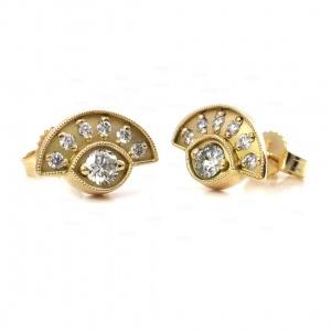 14K Gold 0.25 Ct. Genuine Diamond Unique Evil Eye studs Earrings Fine Jewelry