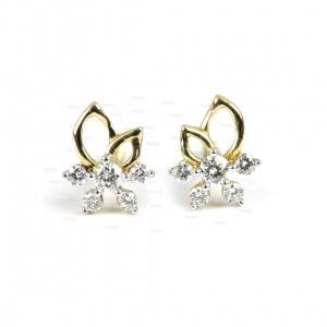 14K Gold 0.20 Ct. Genuine Diamond Mini Flower Studs Earrings Fine Jewelry