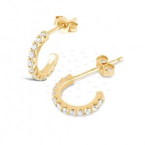 14K Gold 0.25 Ct. Genuine Diamond Half Hoop Cuff Earrings Fine Jewelry