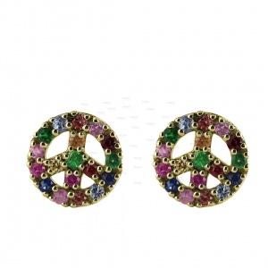14K Gold 0.30 Ct. Multi Sapphire Gemstone Sign of Peace Earrings Fine Jewelry