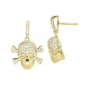 14K Gold 1.35 Ct. Genuine Diamond Skull Drop Earring Fine Jewelry Halloween Gift