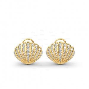 14K Gold 1.60 Ct. Genuine Diamond Sea Shell Earrings Halloween Gift Jewelry