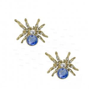 14K Gold Genuine Diamond-Blue Sapphire Spider Earrings Halloween Gift Jewelry
