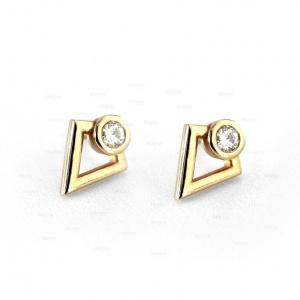 14K Gold 0.12 Ct. VS Clarity Genuine Diamond Minimalist Studs Earrings Jewelry