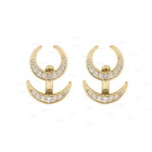 14K Gold 0.50 Ct. Genuine Diamond Horn Design Jacket Earrings Fine Jewelry
