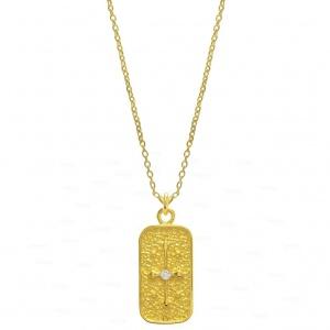 14K Gold Solitaire 0.10 Ct. Genuine Diamond Cross Handmade Pendant Necklace