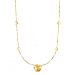 14K Yellow Gold Shiny Love Knot Necklace With Lobster Clasp Mother's Day Jewelry