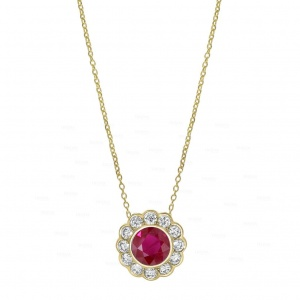 14K Gold Genuine Diamond And Ruby Gemstone Floral Pendant Necklace Fine Jewelry