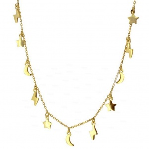 14K Solid Gold Moon Star Lightning Bolt Charms Choker Necklaces Fine Jewelry