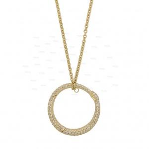 14K Gold 0.50 Ct. Genuine Diamond Snake Biting Own Tail Round Pendant Necklace