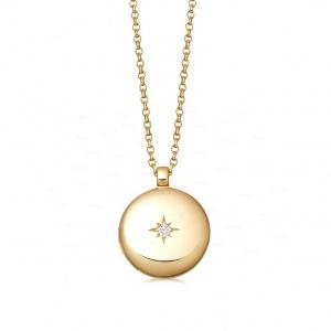 14K Gold 0.02Ct. Genuine Diamond Engraved Starburst Locket Necklace Fine Jewelry